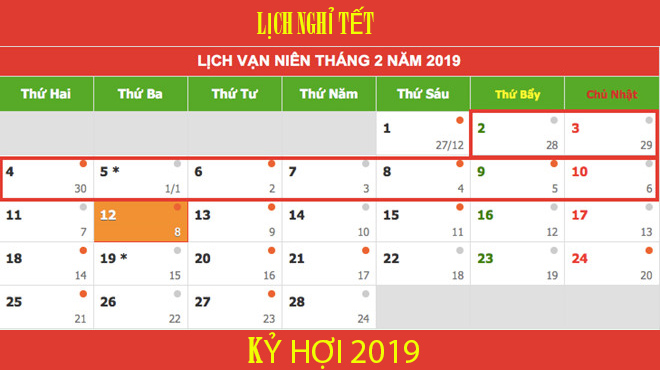 Nghỉ 9 ngày dịp Tết Nguyên đán Kỷ Hợi 2019